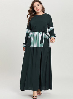 Casual Splicing Tied Striped Embroidered Maxi Dress