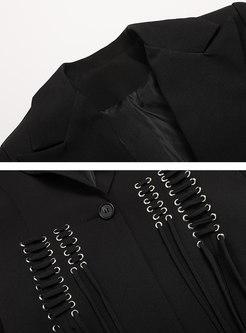 Gathered Waist Tied Flare Sleeve Blazer
