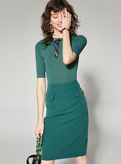 Brief Knitted Slim Top & Pure Color Sheath Skirt