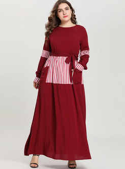 Plus Size Color-blocked Splicing Tied Maxi Dress