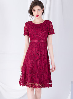 O-neck Embroidered High Waisted Skater Dress