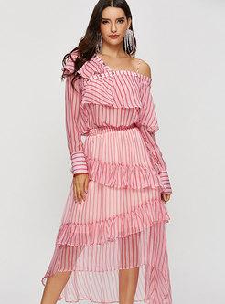 Stylish Striped Backless Top & Falbala Irregular Skirt