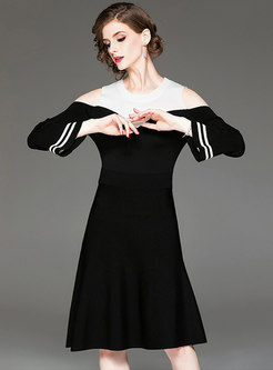 Fashion Off Shoulder Flare Sleeve Knitted Dress