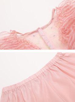 Mesh Transparent Top & Asymmetric High Waisted Skirt
