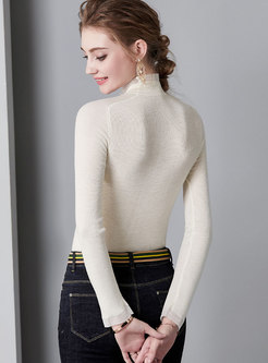 Brief White High Neck Knitted Pullover Sweater