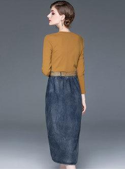 Stylish O-neck Splicing Denim Bodycon Dress
