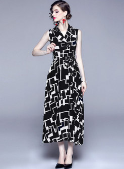 Lapel Sleeveless Geometric Print Maxi Dress