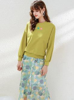 Casual Print Tied Bowknot Chiffon Skirt