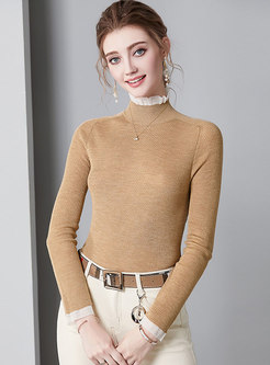 Brief Brown High Neck Knitted Pullover Sweater