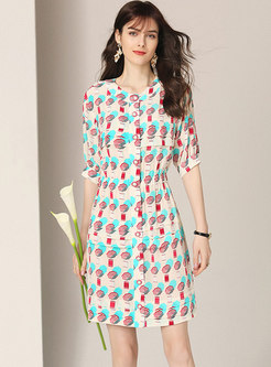 Stylish Geometric Print High Waist Sheath Dress