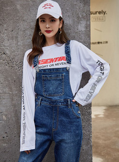 Chic Denim All-matched Loose Slim Overalls