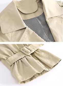Solid Color Double Breasted Trench Coat