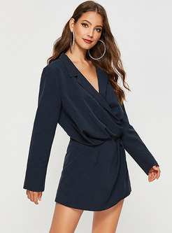 Black Notched Long Sleeve Mini Dress