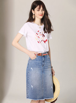 Brief O-neck Print T-shirt & Burst Denim Skirt