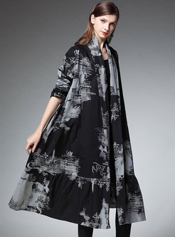 Stylish Plus Size Print Loose Trench Coat
