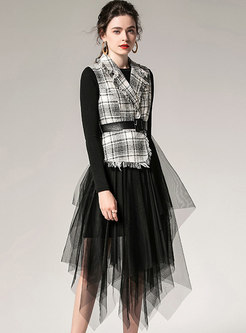 Chic Plaid Lapel Knitted Top & Asymmetric Mesh Skirt
