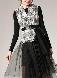 Chic Plaid Lapel Knitted Top & Asymmetric Mesh Skirt