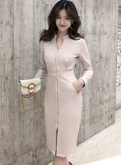 Stylish Stand Collar Pure Color High Waist Bodycon Dress