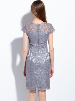 Solid Color Lace Patchwork Mesh Embroidered Sheath Dress