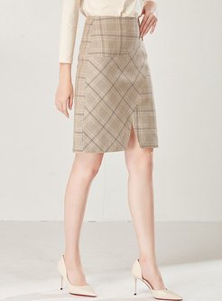 High Waist Slim Split Plaid Sheath Skirt