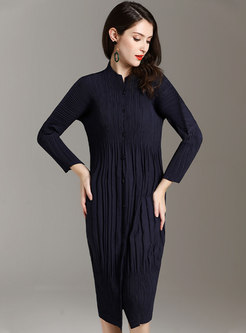 Brief Pleated Long Sleeve Pullover Knitted Dress