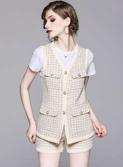 Brief Tweed Tassel Single-breasted Three-piece Outfits