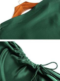 Stylish Pure Color High Waist Split Sheath Dress