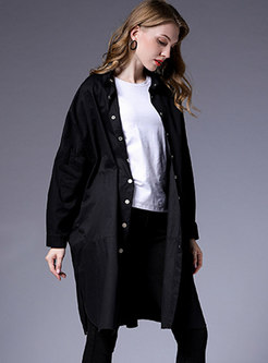 Solid Color Split Loose Trench Coat
