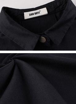 Solid Color Lapel Split Loose Trench Coat