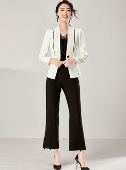 V-neck Color-blocked Slim Long Sleeve Blazer