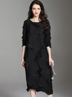 Crew Neck Pleated Shift Dress