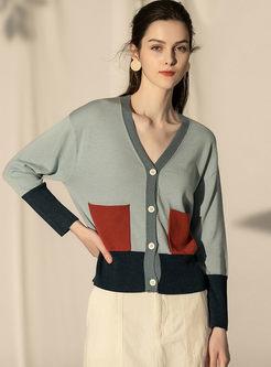 Long Sleeve Patchwork Loose Cardigan