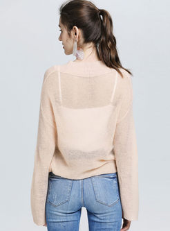 V-neck Perspective Pullover Sweater