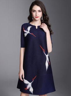 Half Sleeve Animal Print Pleated Dress