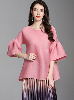 Loose O-neck Flare Sleeve T-shirt