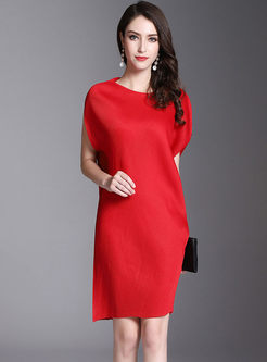 Solid Color O-neck Pleated Dress