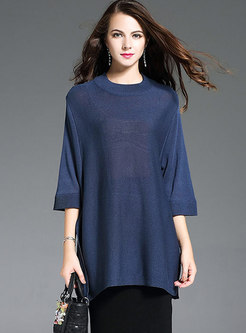 Casual 3/4 Sleeve Loose Knitted Top