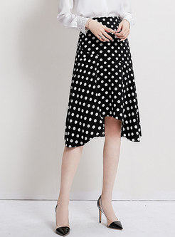 High Waisted Falbala Dot Skirt