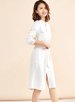 Turn Down Collar Waist Shirt Dress