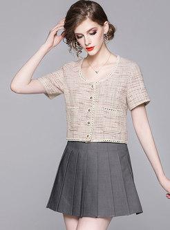 Scoop Neck Short Top & Pleated Mini Skirt
