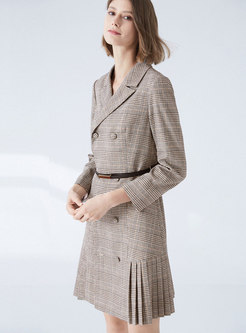 Work Plaid Notched Long Sleeve Dress