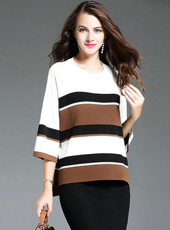 O-neck Pullover Knitted Striped Top