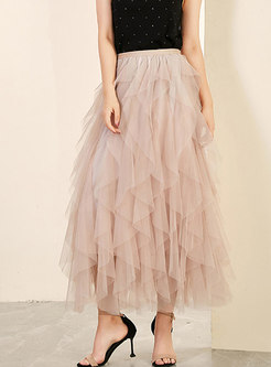 Sweet Mesh irregular A Line Skirt