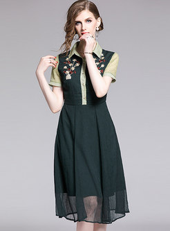 Turn Down Collar Embroidered Mesh Dress