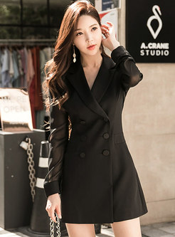 Work Notched Long Sleeve A Line Dress