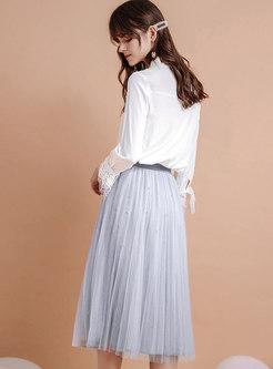 Elastic Waist Mesh Big Hem Skirt