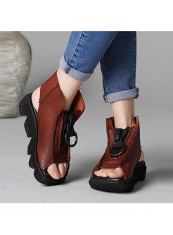 Stylish Leather Zippered Platform Sandals
