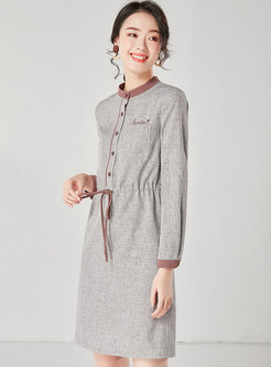 Drawcord Letter Embroidered A Line Dress