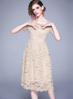 Square Neck Openwork A Line Lace Dress