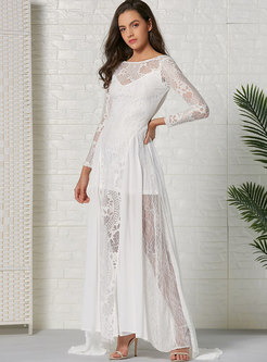 Chiffon Lace Big Hem Maxi Dress